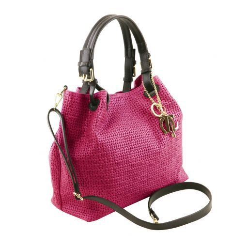 TL KeyLuck Woven printed leather shopping bag Magenta TL141573