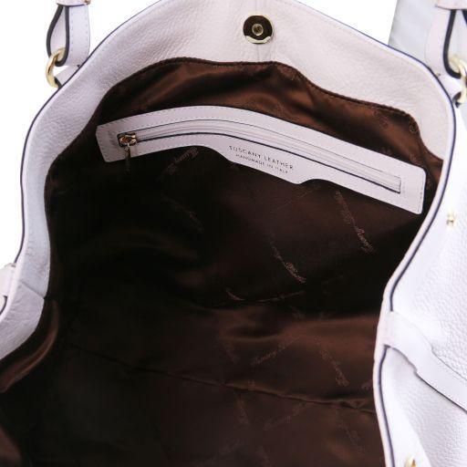 Ambrosia Borsa shopping in pelle morbida con tracolla Bianco TL141516