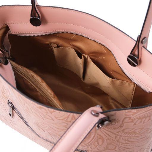 78632608f9979 Atena Shopping Tasche aus Leder mit Blumenmuster Nude TL141655