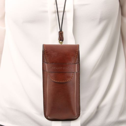 Exclusive leather eyeglasses/Smartphone holder Large size Brown TL141321