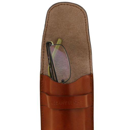 Esclusivo portaocchiali/Portacellulare/porta orologio a tracolla in pelle Miele TL141282