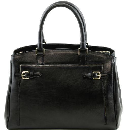 TL Bag Borsa a mano in pelle con tasca frontale Nero TL141280