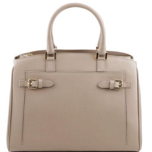 TL Bag Borsa a mano in pelle con tasca frontale Talpa chiaro TL141280