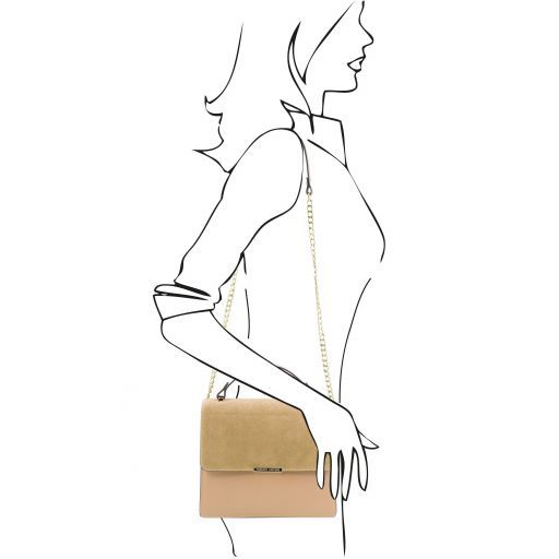 Irene Sac à main en cuir et bandoulière à chaîne Champagne TL141745