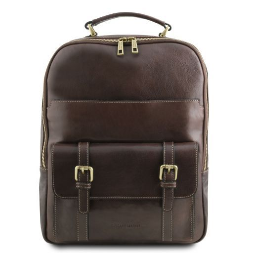 Nagoya Leather laptop backpack Dark Brown TL141857