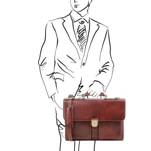 Assisi Кожаный портфель на 3 отделения Коричневый TL141825
