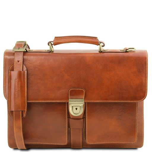 Assisi Leather briefcase 3 compartments Honey TL141825