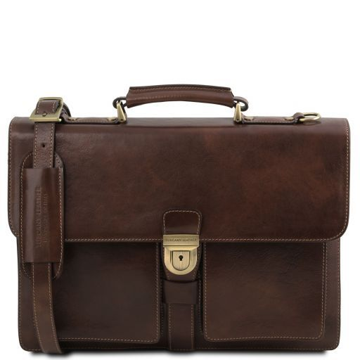 Assisi Leather briefcase 3 compartments Dark Brown TL141825