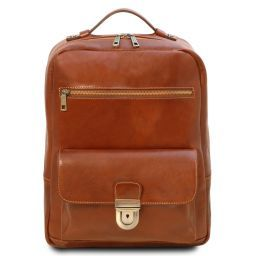 Kyoto Leather laptop backpack Honey TL141859