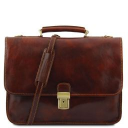 Torino Leather briefcase 2 compartments Brown TL10029