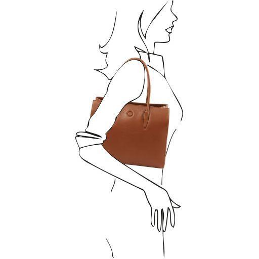 Orchidea Leather shoulder bag Cognac TL141810