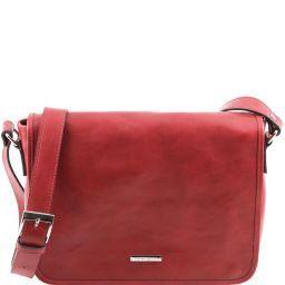 TL Messenger Bolso en piel con bandolera 1 compartimento - Tamaño medio Rojo TL141301