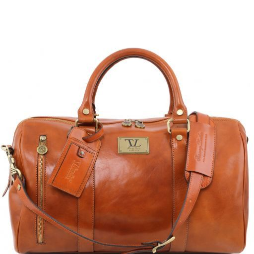 TL Voyager Travel leather duffle bag with front pocket Honey TL141303