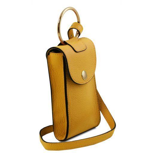 TL Bag Leather cellphone holder mini cross bag Mustard TL141865