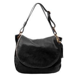 TL Bag Sac bandoulière besace en cuir souple avec pompon Noir TL141110