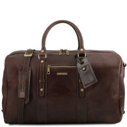 TL Voyager Leather travel bag with front pocket Dark Brown TL141401
