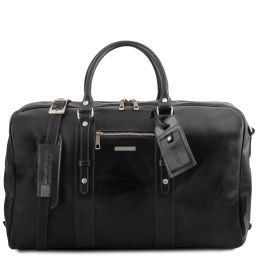 TL Voyager Leather travel bag with front pocket Black TL141401