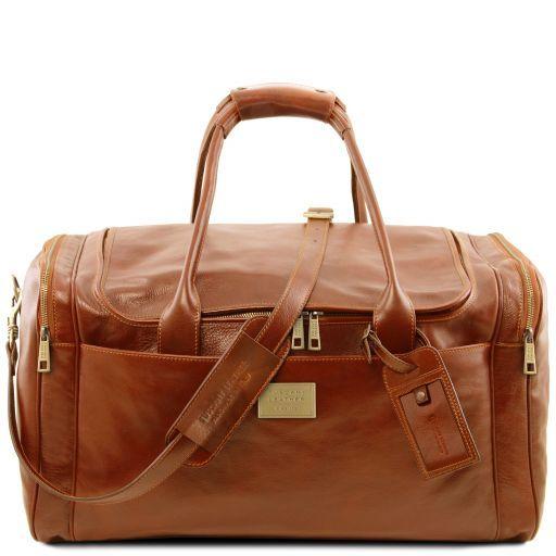 TL Voyager Sac de voyage en cuir avec poches aux côtés - Grand modèle Miel TL141281
