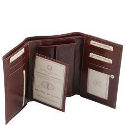 Esclusivo portafogli in pelle da donna 3 ante Rosso TL141314