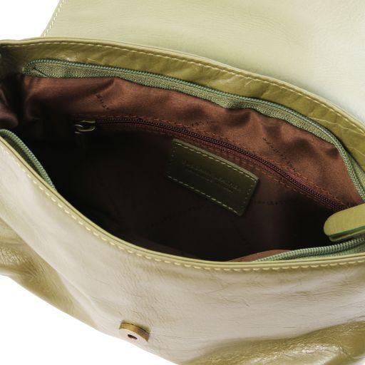 TL Bag Soft leather shoulder bag with tassel detail Olive Green TL141223