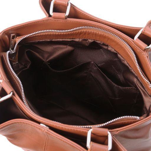 TL Bag Leather shoulder bag with front pockets Cinnamon TL141722
