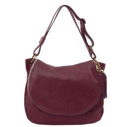 TL Bag Soft leather shoulder bag with tassel detail Bordeaux TL141110
