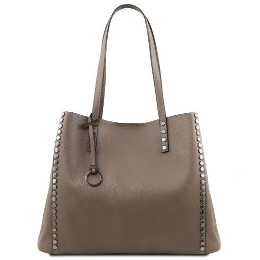 TL Bag Soft leather shopping bag Dark Taupe TL141735