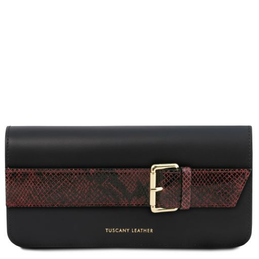 Demetra Leather clutch with chain strap Bordeaux TL141814