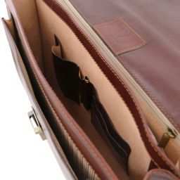 Napoli 2 compartments leather briefcase with front pocket Коричневый TL141348