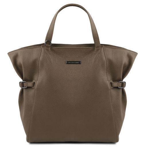 TL Bag Bolso Shopping en piel morbida Marrón topo oscuro TL141883