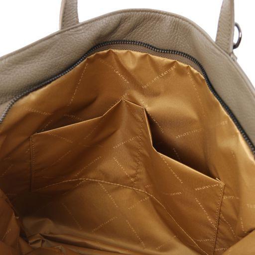 TL Bag Sac shopping en cuir souple Taupe foncé TL141883
