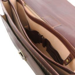 Roma Cartable en cuir avec 3 compartiments Marron TL141349