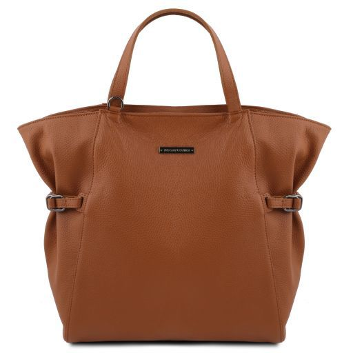 TL Bag Bolso Shopping en piel morbida Cognac TL141883