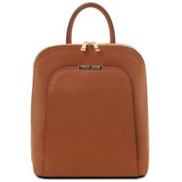 TL Bag Saffiano leather backpack for women Cognac TL141631