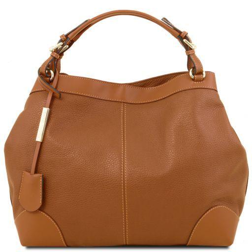 Ambrosia Soft leather shopping bag with shoulder strap Коньяк TL141516