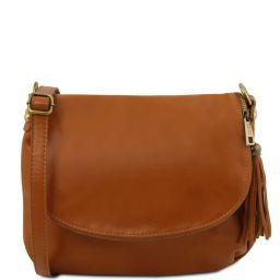 TL Bag Bolso en piel suave con borla y bandolera Cognac TL141223
