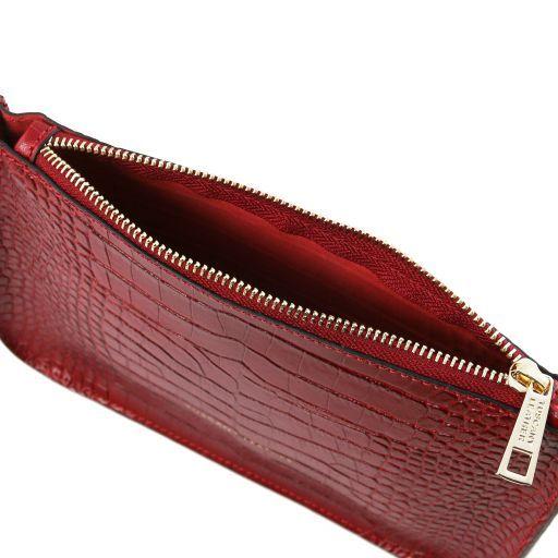 Cassandra Croc print leather clutch handbag Red TL141917