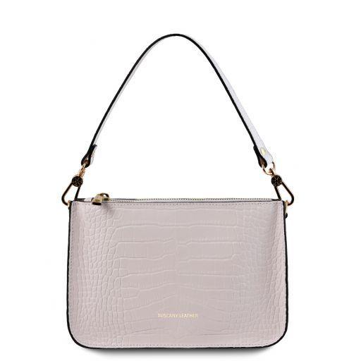Cassandra Croc print leather clutch handbag White TL141917
