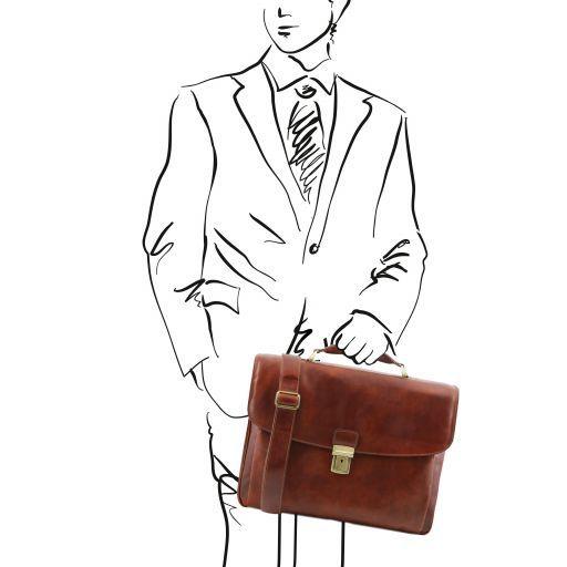 Alessandria Leather multi compartment TL SMART laptop briefcase Коричневый TL141448