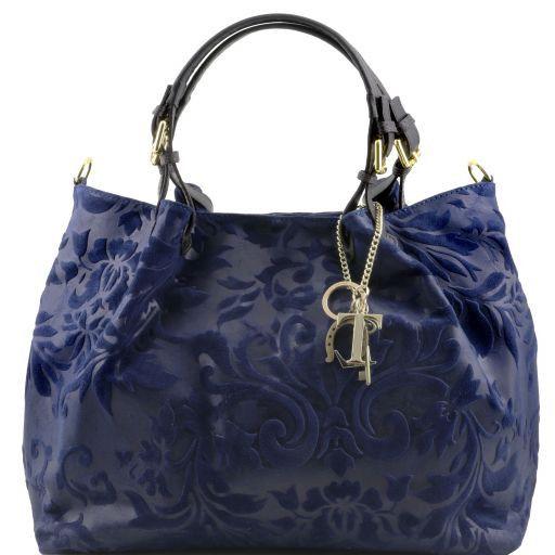 TL Keyluck Borsa shopping in pelle scamosciata stampa floreale Blu scuro TL141361