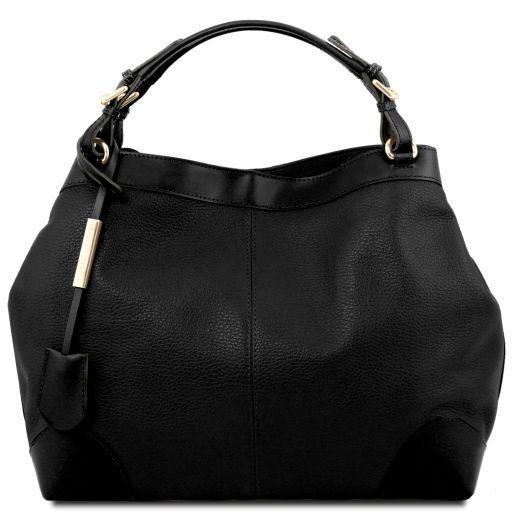 Ambrosia Sac shopping en cuir souple avec bandoulière Noir TL141516