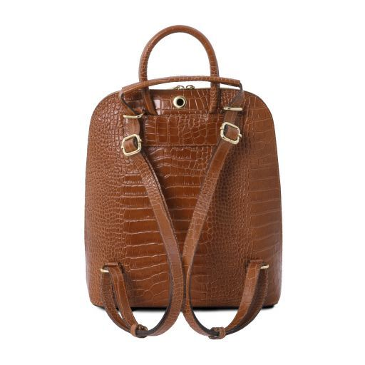 TL Bag Croc print leather backpack for women Cinnamon TL141918