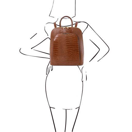 TL Bag Croc print leather backpack for women Cinnamon TL141918