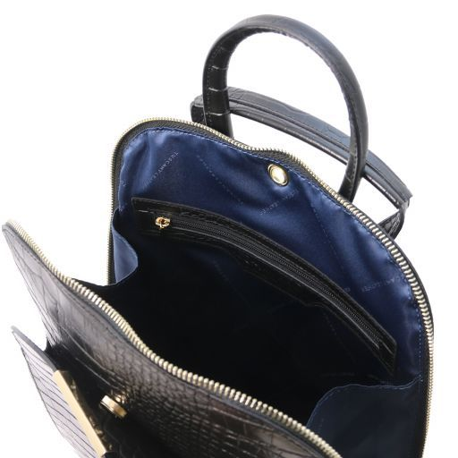 TL Bag Croc print leather backpack for women Black TL141918