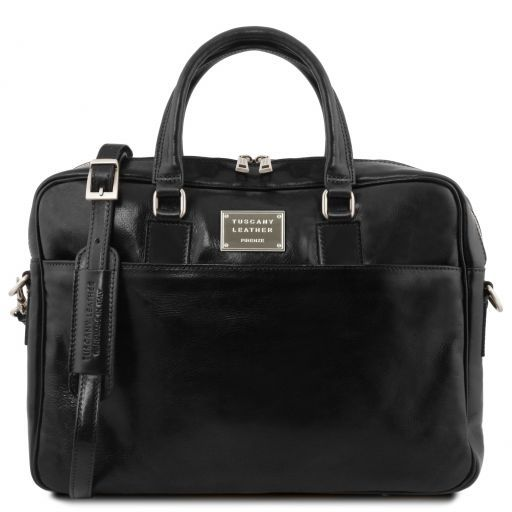 Urbino Two compartments leather laptop briefcase with front pocket Черный TL141894