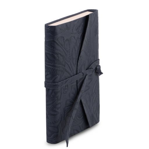 Leather travel diary with floral pattern Темно-синий TL141672