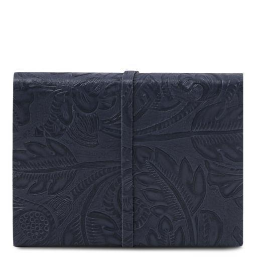 Diario di viaggio in pelle stampa floreale Blu scuro TL141672