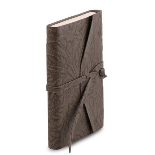 Leather travel diary with floral pattern Grey TL141672
