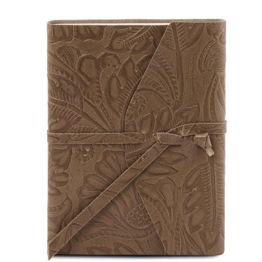 Diario de viaje en piel estampado floral Marrón topo oscuro TL141672