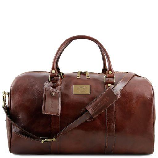 TL Voyager Reisetasche aus Leder mit Fach auf der Rückseite - Gross Braun TL141247